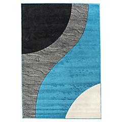 Alfombra Hawaii curvas 50x100 cm turquesa y negro