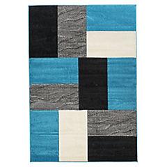Alfombra Hawaii rectángulos 50x100 cm turquesa y negro