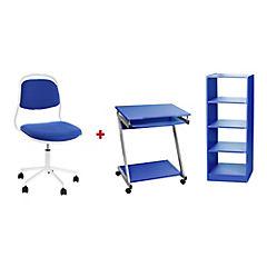 Combo escritorio + silla pc azul