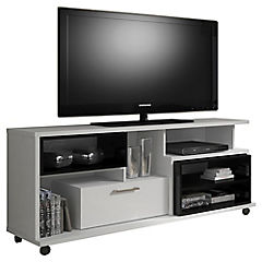 Rack TV Versatile con repisas 155x45x65 cm blanco y negro