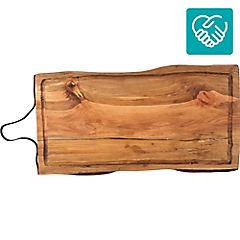 Tabla para asado 60x30 cm mango cuero
