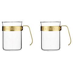 Set 2 tazas vidrio Electric Gold