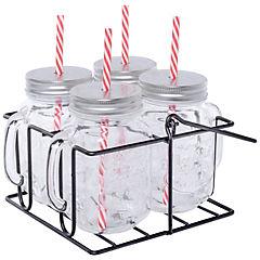 Set 4 vasos 500 ml con bombilla+tapa+rack