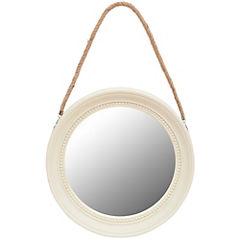 Espejo circular 33x33 cm con soga blanco