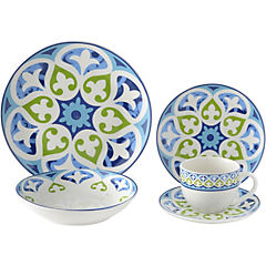 Juego de vajilla 20 piezas mandala azul