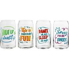 Set de vasos vidrio 356 ml 4 unidades