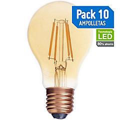 Pack 10 Led Vintage A60 4W E27 ambar