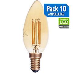 Set de ampolletas LED E-14 4 W Cálida 10 unidades