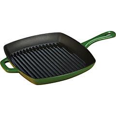 Sartén grill cuadrado esmaltado  verde 25,4 cm