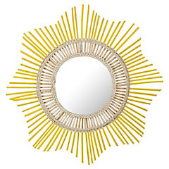 Espejo redondo 80 cm amarillo