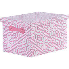 Caja flores rosa con tapa 36x26x22 cm
