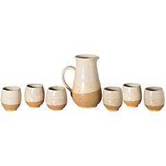 Juego pisco sour de jarra + 6 vasos cerámica beige