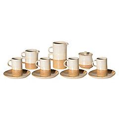 Juego de café 11 piezas cerámica gres blanco y beige