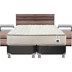 Box Spring 2 Plazas Base Dividida + Muebles Ares