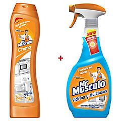 Limpiavidrios Mr Musculo 500 cc + Limpiador crema Mr Musculo 450 ml