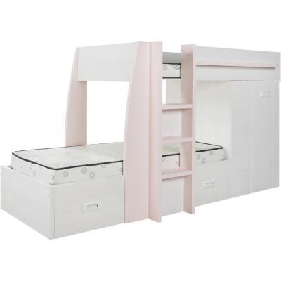 Camarote confo 273x116x150 cm rosado y gris for Falabella combos camas