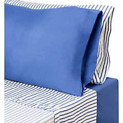 Set de 2 sabanas Lisa+estampada 2 plazas azul