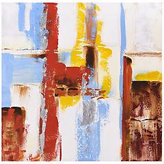 Oleo abstracto multicolor 80x80 cm