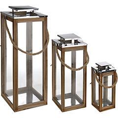 Set de linternas decorativas madera 3 unidades