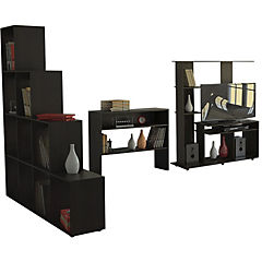 Combo de estante para TV 40'' + biblioteca + arrimo