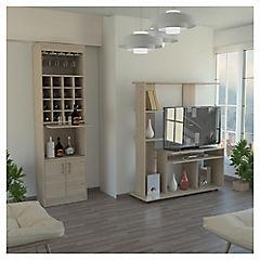 Combo mueble de bar + estante de TV madera Rovere