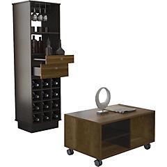 Combo de mesa de centro + mueble de bar madera Caramelo