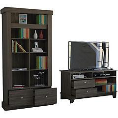 Combo de rack de TV + biblioteca