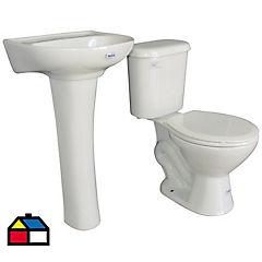 Combo WC 6 litros + lavamanos blanco