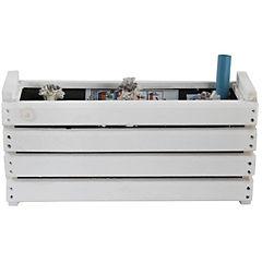 Macetero de madera Kiche 45x17x23 cm blanco