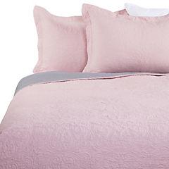 Quilt Liso rosado y gris 2 plazas