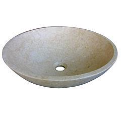 Lavamanos circular 43x15x15 cm mármol beige
