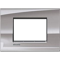 Placa rectangular 3 modulos niquel