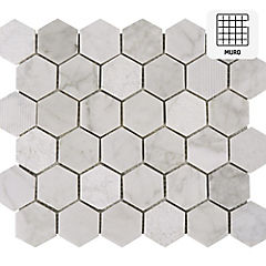 Malla 30x30 cm hexagonal Carrara mix