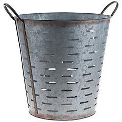 Macetero de metal, medida 33 x 33.5 cm