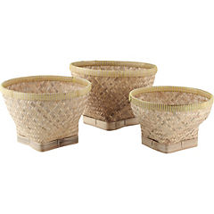 Set de 3 canastos de bambu