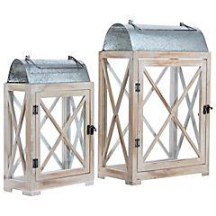 Set 2 faroles madera-metal para decoración de jardín
