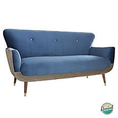 Sofa auburn 1,8mts felpa petroleo- felpa beige