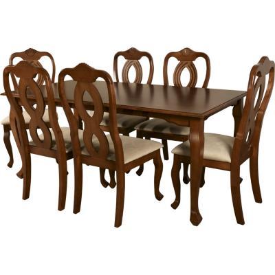 Juego de comedor dresden 6 sillas 180x90 cm for Sillas ergonomicas sodimac