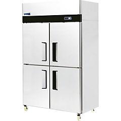Freezer industrial no-frost 2 cuerpos 4 medias puertas acero inox 900 litros