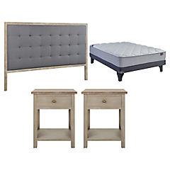 Combo Box Europeo Novum 2 plazas bn x 2 m + Respaldo para cama Gris + 2 Veladores 1 cajón