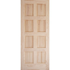 Puerta pino 8 paneles 75x200 con perforación