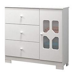 Cómoda New cristal blanco 3 cajones puerta vista acrílica patas de pvc