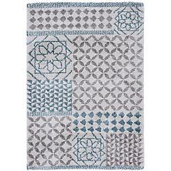Alfombra gris y azul 160x230 cm