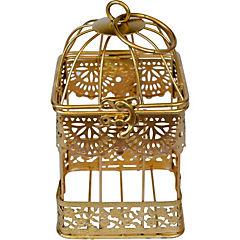 Jaula romántica dorada 12x12x22 cm