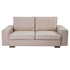 Sofá color beige, tela lino espuma súper soft confortable