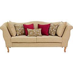 Sofá clásico color beige, 7 cojines de adornos tela chenille