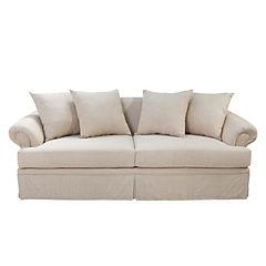 Sofá lino beige, faldón 4 cojines rellenos de algodón confortable