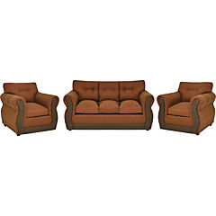 Living terracota, tela chenille y asiento con espuma alta densidad