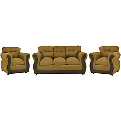 Living oro, tela chenille y asiento con espuma de alta densidad