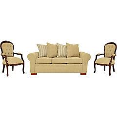 Juego de Living sofá 3 cuerpos beige + 2 sitiales beige